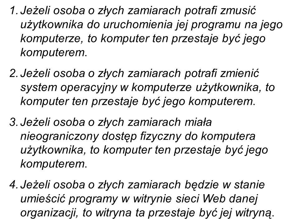 Dziesięć tak zwanych niezmiennych zasad bezpieczeństwa Zasady te sformułowane przez pracownika firmy Microsoft Scotta Culpa w 2000 roku, pomimo ogromn