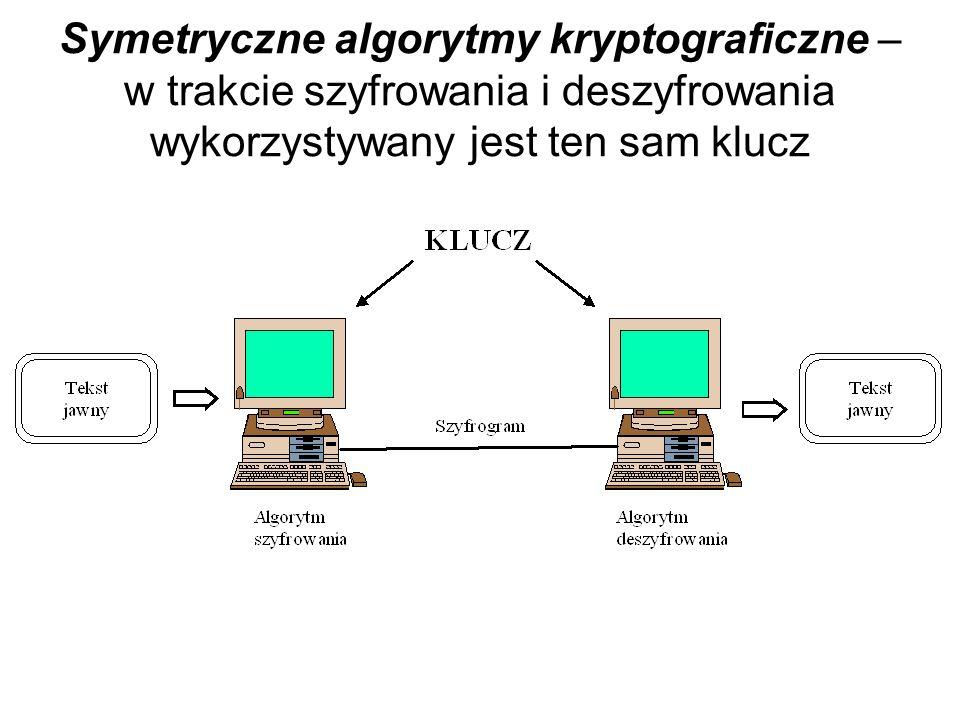Ogólny schemat procesu szyfrowania Jeśli klucze k 1 oraz k 2 są identyczne, to mamy do czynienia z kryptografią symetryczną. Ogromnie ważna jest wtedy
