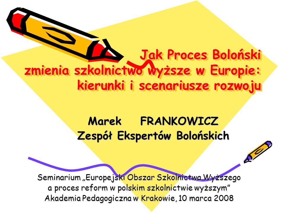 Łącza Oficjalna strrona bolońska 2007-2009: http://www.ond.vlaanderen.be/hogeronderwijs/bologna/ Strona bolońska MNSzW: http://www.nauka.gov.pl/mn/index.jsp?place=Menu06&news_cat_i d=953&layout=2 http://www.nauka.gov.pl/mn/index.jsp?place=Menu06&news_cat_i d=953&layout=2 Strona Zespołu Ekspertów Bolońskich: http://erasmus.org.pl/index.php/ida/169/ http://erasmus.org.pl/index.php/ida/169/