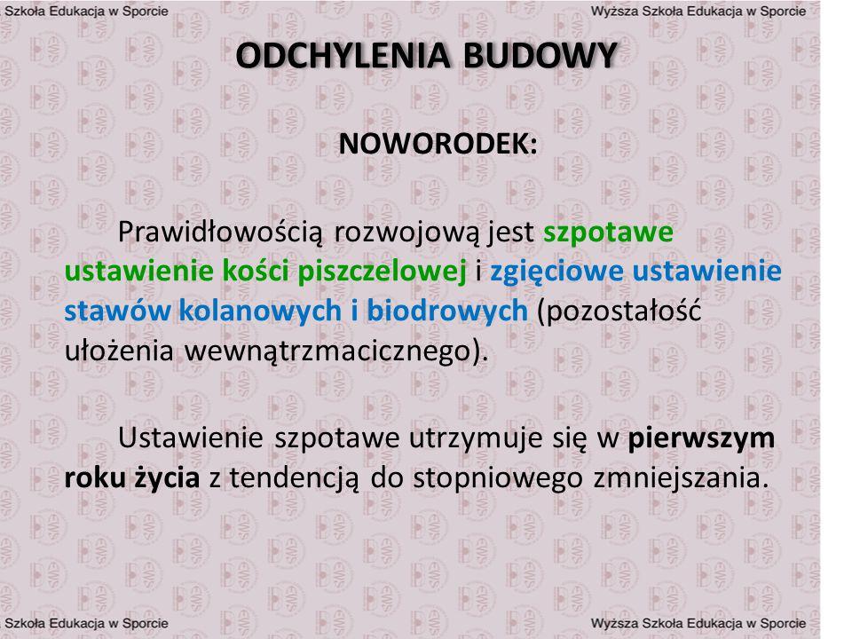 ODCHYLENIA BUDOWY NOWORODEK: Prawidłowością rozwojową jest szpotawe ustawienie kości piszczelowej i zgięciowe ustawienie stawów kolanowych i biodrowyc