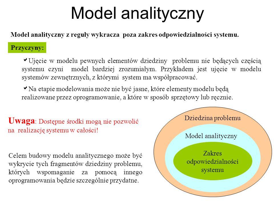 Model analityczny Model analityczny z reguły wykracza poza zakres odpowiedzialności systemu. Zakres odpowiedzialności systemu Model analityczny Celem