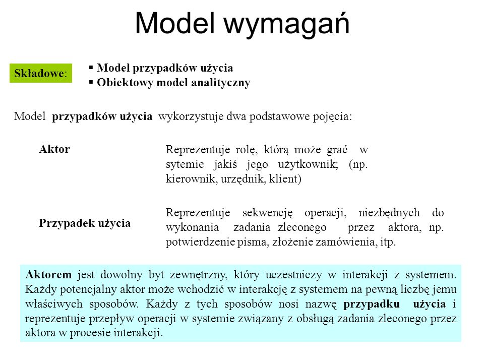 Model wymagań Model przypadków użycia Obiektowy model analityczny Składowe: Model przypadków użycia wykorzystuje dwa podstawowe pojęcia: Aktor Przypad