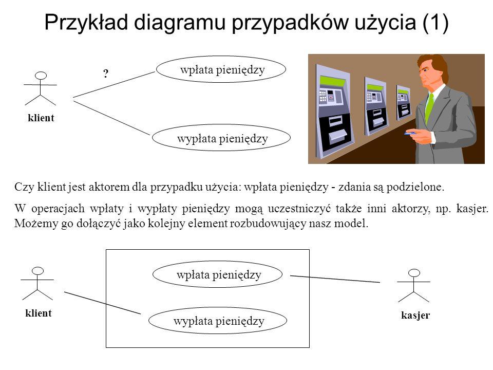 Przykład diagramu przypadków użycia (1) wpłata pieniędzy wypłata pieniędzy Czy klient jest aktorem dla przypadku użycia: wpłata pieniędzy - zdania są