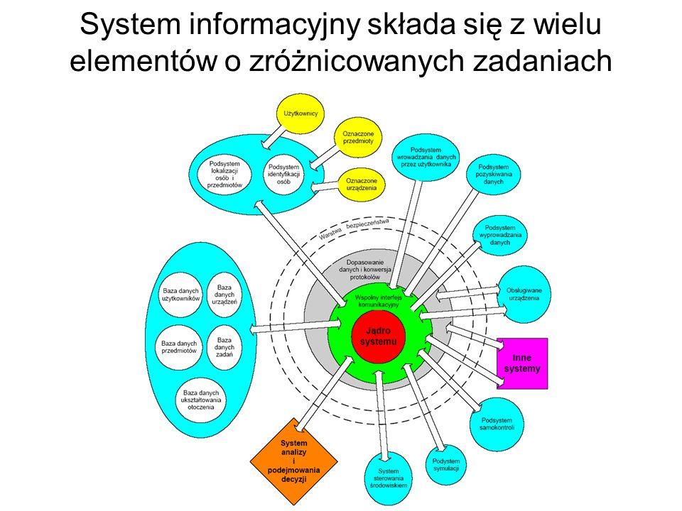W pełni skonfigurowany system informacyjny zawiera bardzo wiele składników o różnym przeznaczeniu