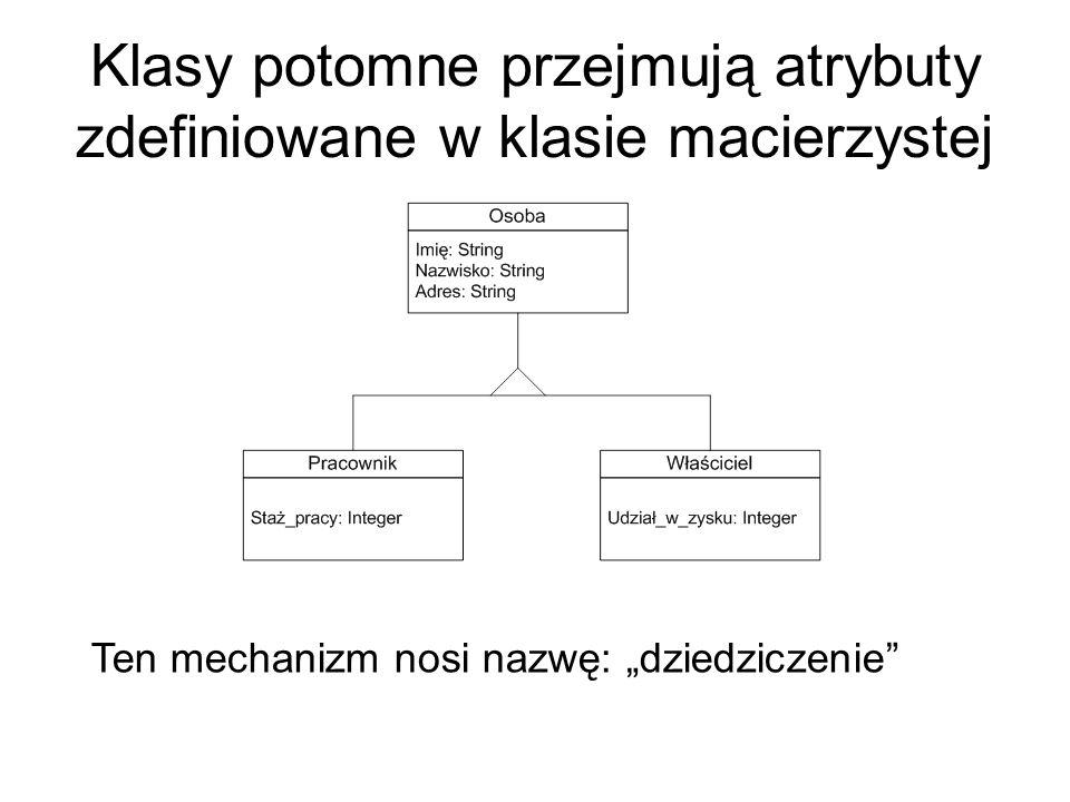 Klasy potomne przejmują atrybuty zdefiniowane w klasie macierzystej Ten mechanizm nosi nazwę: dziedziczenie