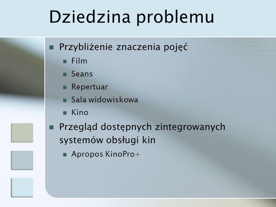 Dziedzina problemu Przybliżenie znaczenia pojęć Film Seans Repertuar Sala widowiskowa Kino Przegląd dostępnych zintegrowanych systemów obsługi kin Apropos KinoPro+