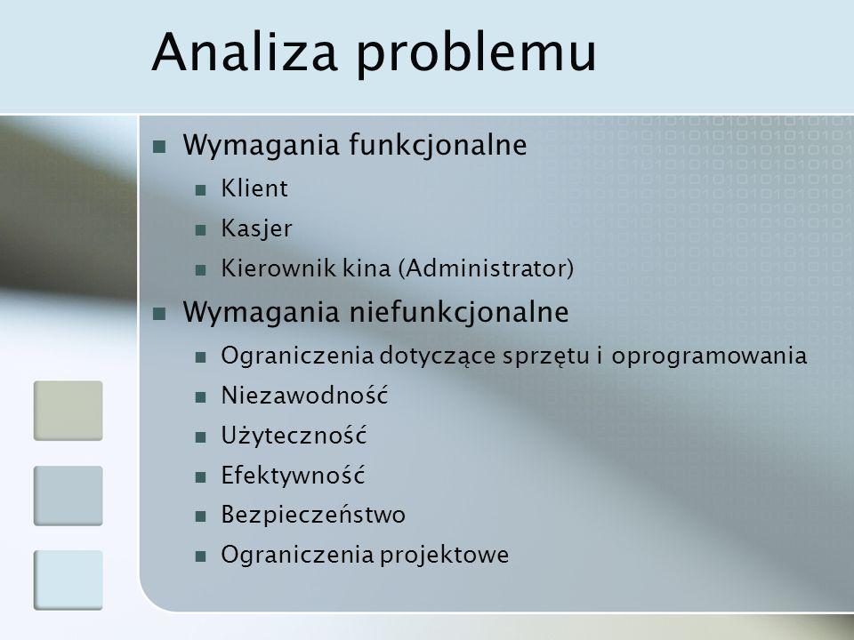 Analiza problemu Wymagania funkcjonalne Klient Kasjer Kierownik kina (Administrator) Wymagania niefunkcjonalne Ograniczenia dotyczące sprzętu i oprogr