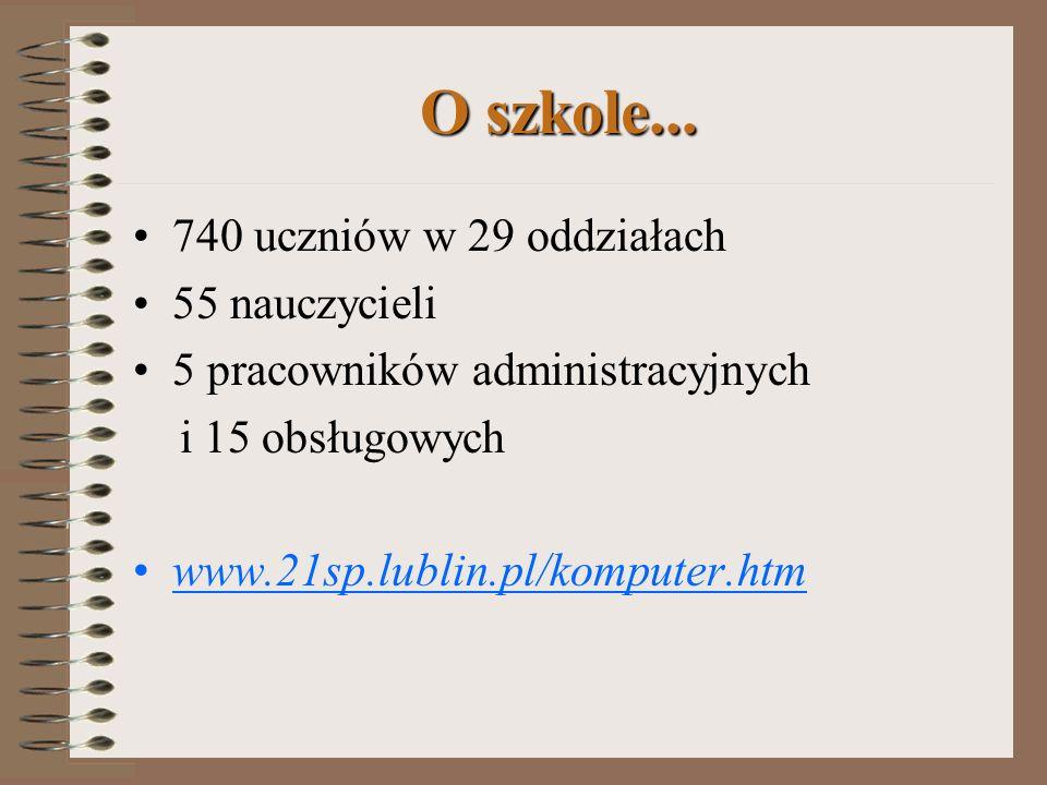 KOMPUTERY W ZARZĄDZANIU SZKOŁĄ Jerzy Piskor Szkoła Podstawowa nr 21 im. Królowej Jadwigi w Lublinie jpiskor@ares.21sp.lublin.pl ( jerzy@w.pl ) www.21s