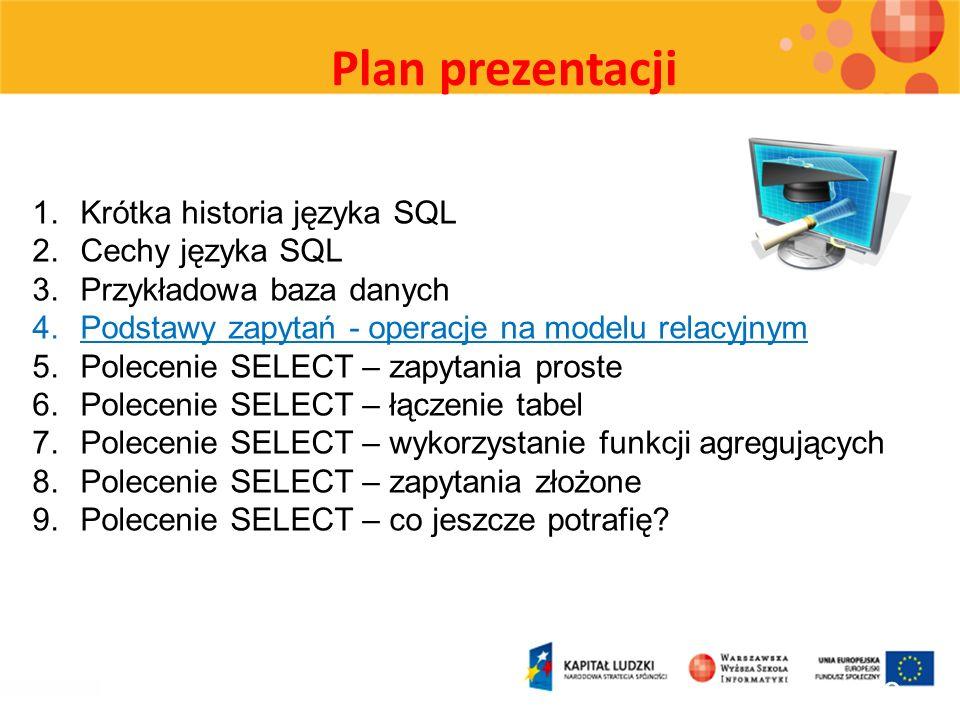 Plan prezentacji 18 1.Krótka historia języka SQL 2.Cechy języka SQL 3.Przykładowa baza danych 4.Podstawy zapytań - operacje na modelu relacyjnym 5.Pol