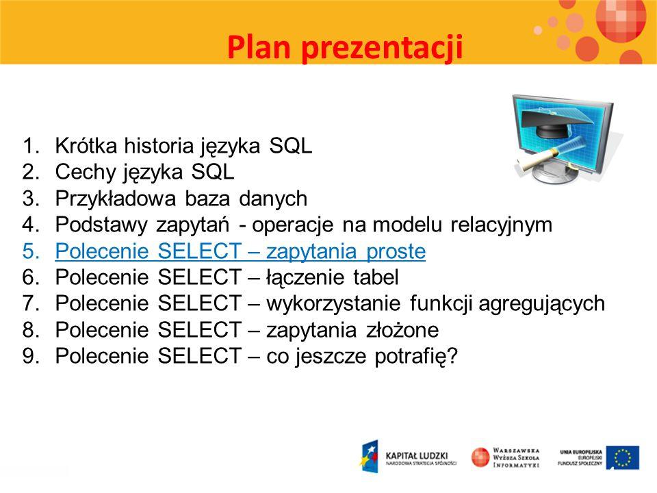 Plan prezentacji 24 1.Krótka historia języka SQL 2.Cechy języka SQL 3.Przykładowa baza danych 4.Podstawy zapytań - operacje na modelu relacyjnym 5.Pol