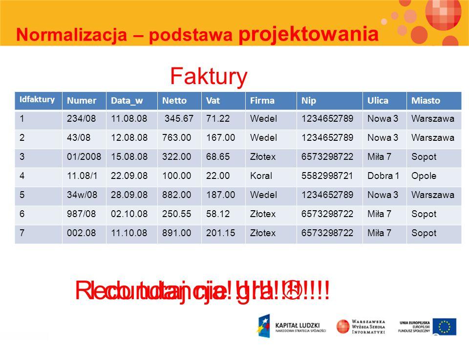 32 Normalizacja – podstawa projektowania Idfaktury NumerData_wNettoVatFirmaNipUlicaMiasto 1234/0811.08.08 345.6771.22Wedel1234652789Nowa 3Warszawa 243