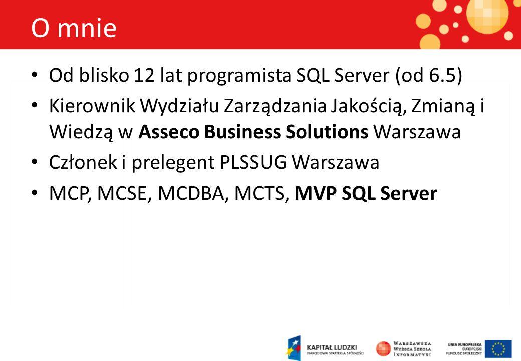 O mnie Od blisko 12 lat programista SQL Server (od 6.5) Kierownik Wydziału Zarządzania Jakością, Zmianą i Wiedzą w Asseco Business Solutions Warszawa