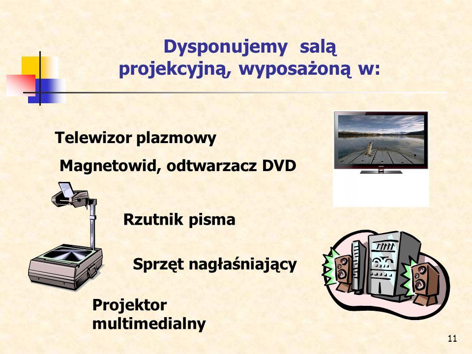 11 Dysponujemy salą projekcyjną, wyposażoną w: Telewizor plazmowy Magnetowid, odtwarzacz DVD Projektor multimedialny Rzutnik pisma Sprzęt nagłaśniając