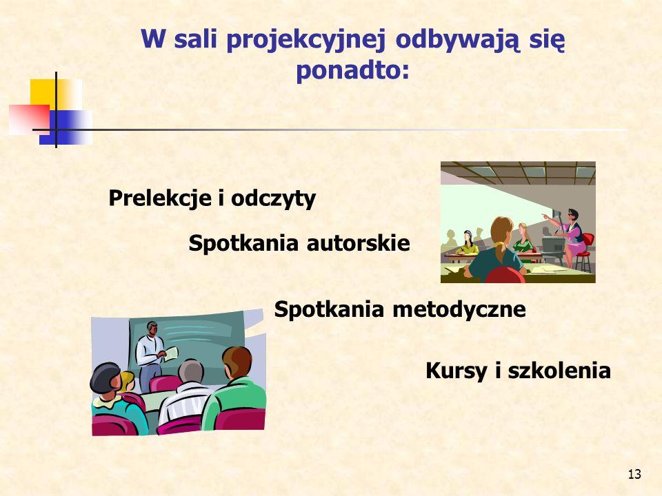 13 W sali projekcyjnej odbywają się ponadto: Prelekcje i odczyty Spotkania metodyczne Kursy i szkolenia Spotkania autorskie