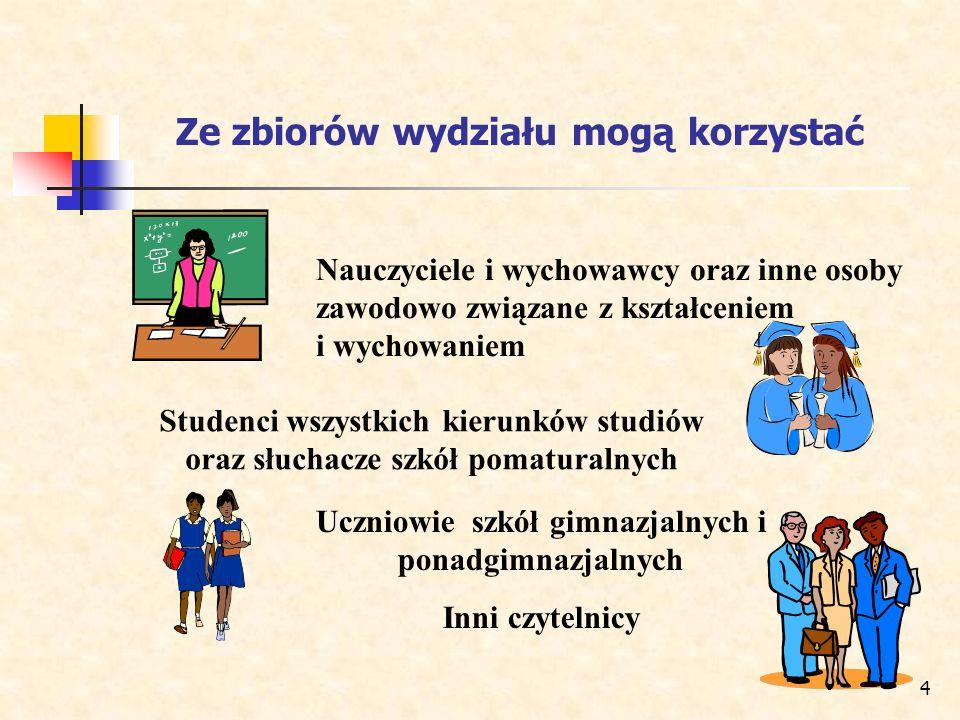 4 Ze zbiorów wydziału mogą korzystać Nauczyciele i wychowawcy oraz inne osoby zawodowo związane z kształceniem i wychowaniem Studenci wszystkich kieru