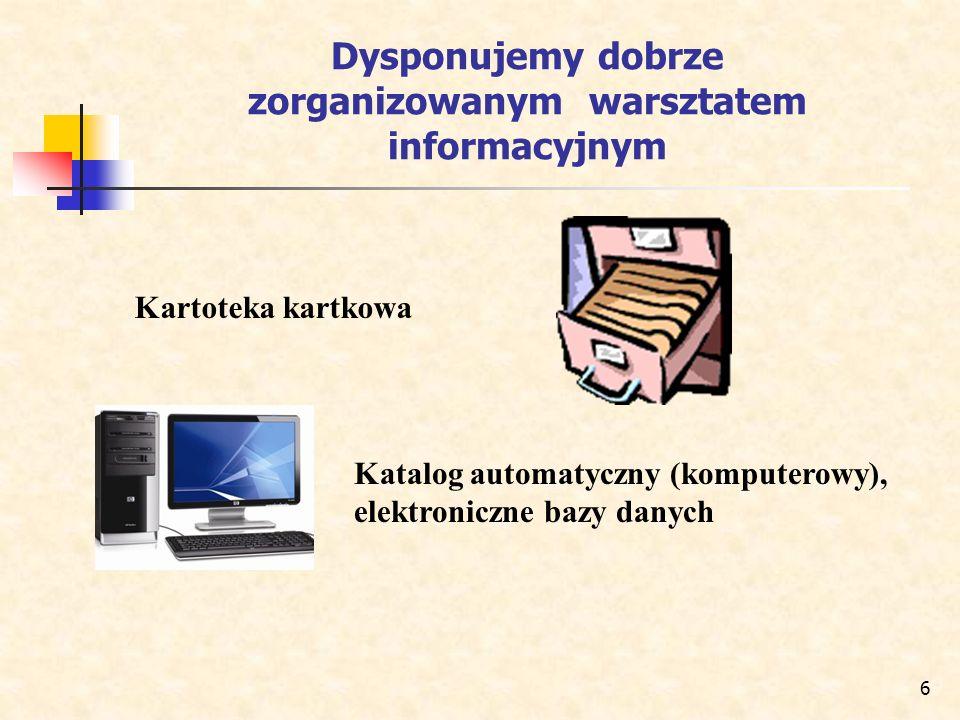 6 Dysponujemy dobrze zorganizowanym warsztatem informacyjnym Kartoteka kartkowa Katalog automatyczny (komputerowy), elektroniczne bazy danych