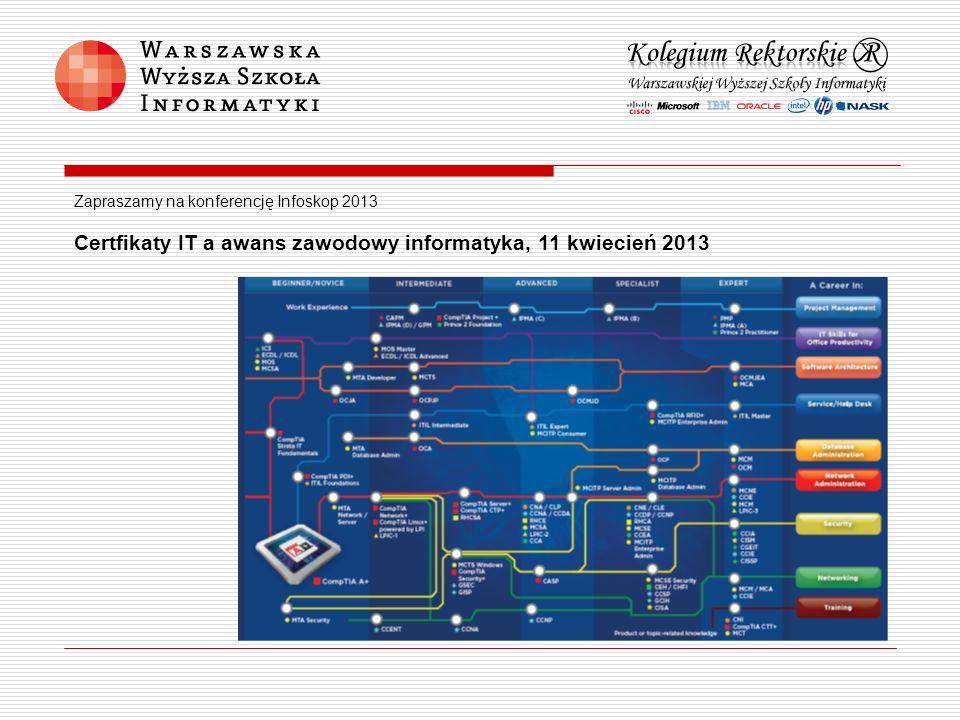 Zapraszamy na konferencję Infoskop 2013 Certfikaty IT a awans zawodowy informatyka, 11 kwiecień 2013