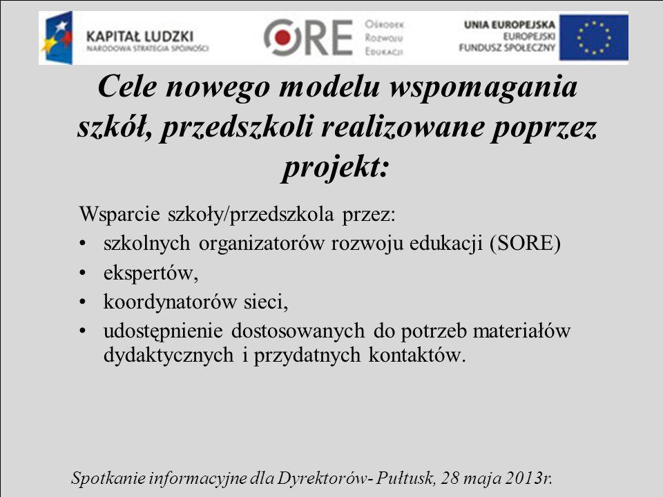Główne zadania w ramach projektu : Przeprowadzenie procesu wspomagania w zainteresowanych szkołach (realizacja w szkołach rocznych planów wspomagania według zasad wypracowanych w projekcie systemowym ORE).