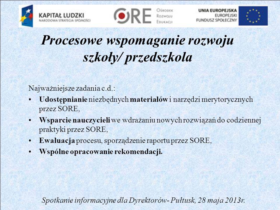 Procesowe wspomaganie rozwoju szkoły/ przedszkola SZKOŁA DIAGNOZA PLANOWANIE ZMIAN WDRAŻANIE ZMIAN DOSTARCZANIE NARZĘDZI OCENA EFEKTÓW WNIOSKI Spotkanie informacyjne dla Dyrektorów- Pułtusk, 28 maja 2013r.