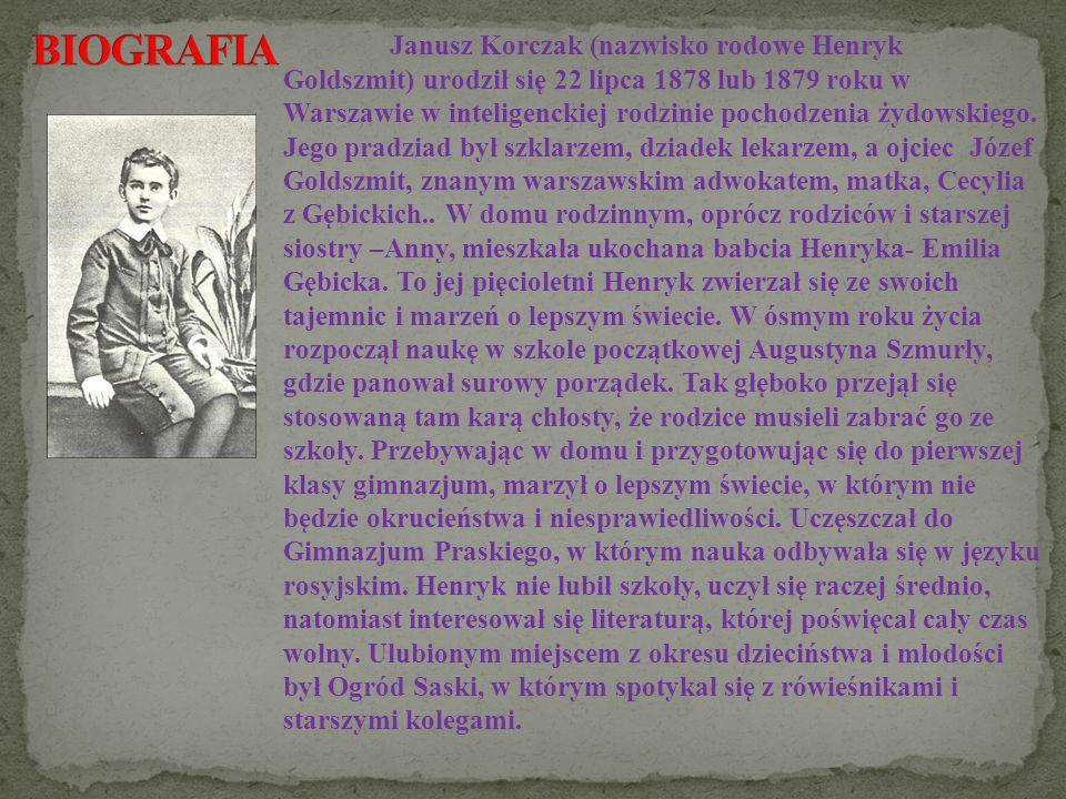 Janusz Korczak (nazwisko rodowe Henryk Goldszmit) urodził się 22 lipca 1878 lub 1879 roku w Warszawie w inteligenckiej rodzinie pochodzenia żydowskieg
