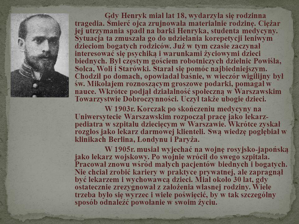 W 1907 w czasie wakacji wyjeżdża jako wychowawca na kolonie letnie W rok później ponowił taki wyjazd tym razem z grupką chłopców polskich W 1909 roku otrzymuje on propozycje zajęcia się dziećmi w przytułkach, dla sierot żydowskich.