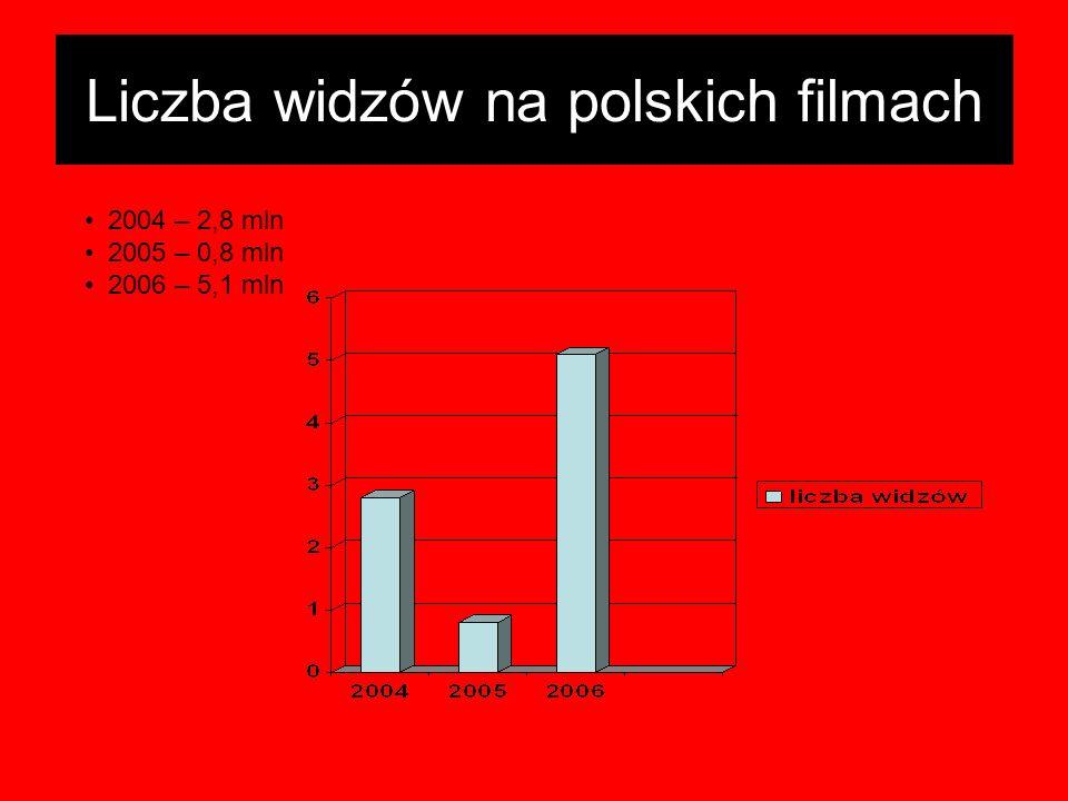 Liczba widzów na polskich filmach 2004 – 2,8 mln 2005 – 0,8 mln 2006 – 5,1 mln