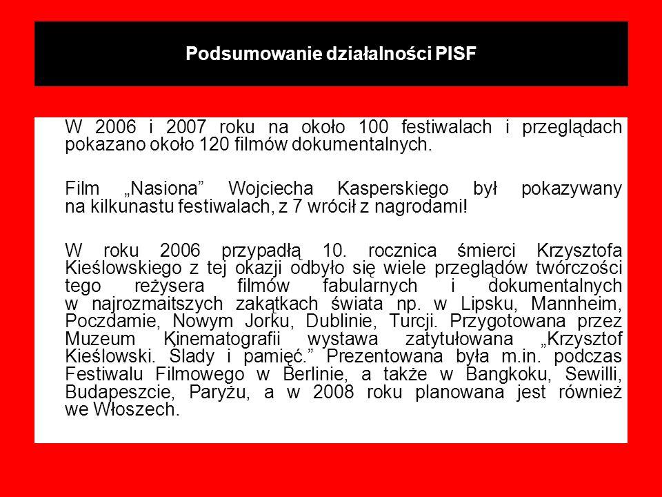 Podsumowanie działalności PISF W 2006 i 2007 roku na około 100 festiwalach i przeglądach pokazano około 120 filmów dokumentalnych. Film Nasiona Wojcie