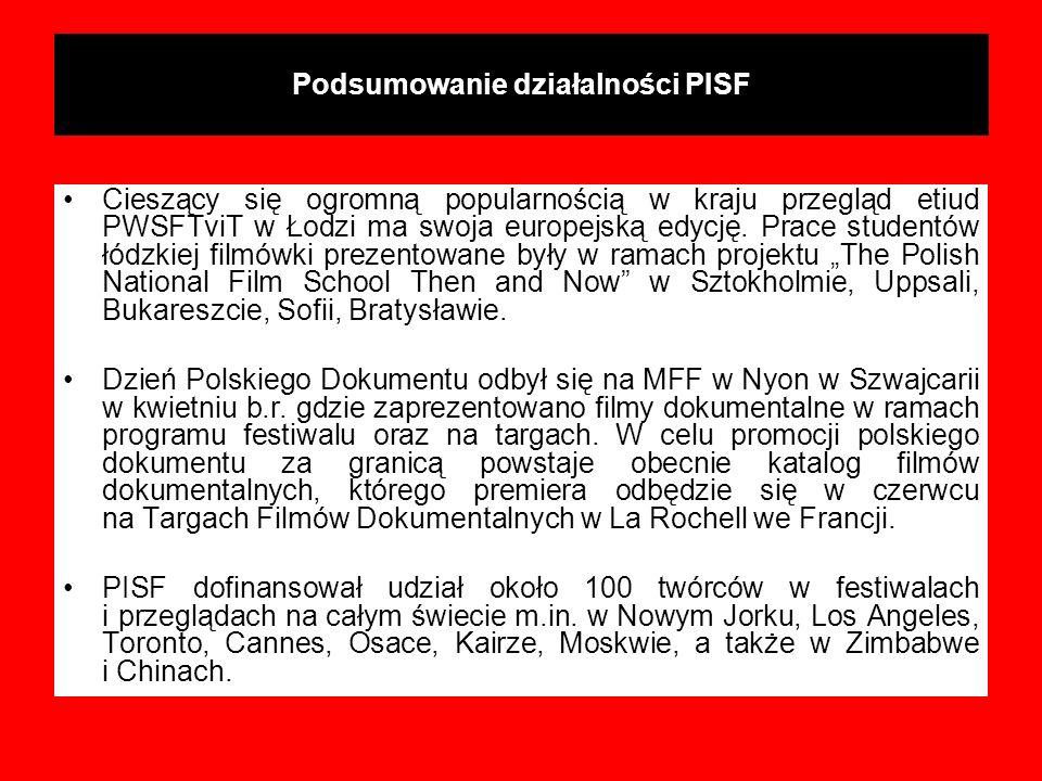 Podsumowanie działalności PISF Cieszący się ogromną popularnością w kraju przegląd etiud PWSFTviT w Łodzi ma swoja europejską edycję. Prace studentów