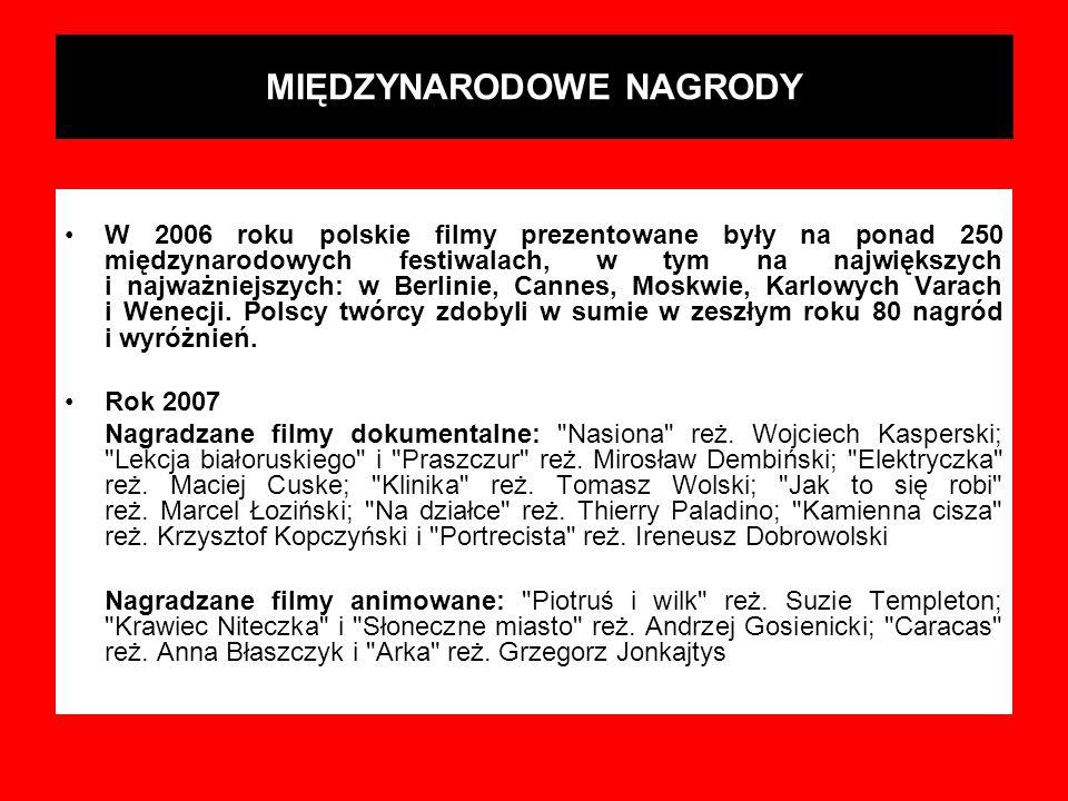 MIĘDZYNARODOWE NAGRODY W 2006 roku polskie filmy prezentowane były na ponad 250 międzynarodowych festiwalach, w tym na największych i najważniejszych: