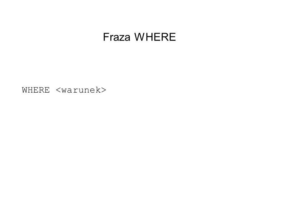 Fraza WHERE WHERE