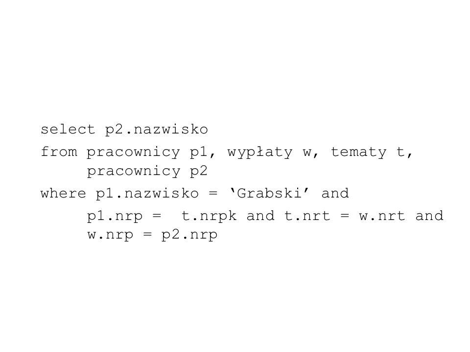 select p2.nazwisko from pracownicy p1, wypłaty w, tematy t, pracownicy p2 where p1.nazwisko = Grabski and p1.nrp = t.nrpk and t.nrt = w.nrt and w.nrp
