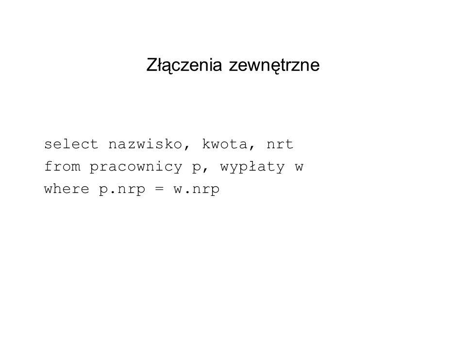 Złączenia zewnętrzne select nazwisko, kwota, nrt from pracownicy p, wypłaty w where p.nrp = w.nrp