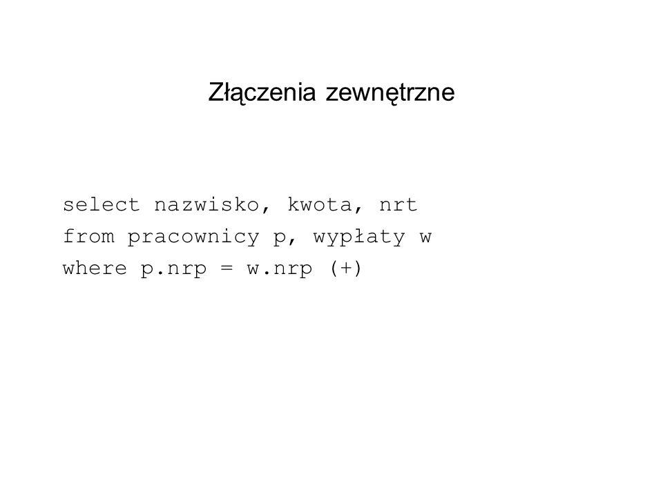 Złączenia zewnętrzne select nazwisko, kwota, nrt from pracownicy p, wypłaty w where p.nrp = w.nrp (+)