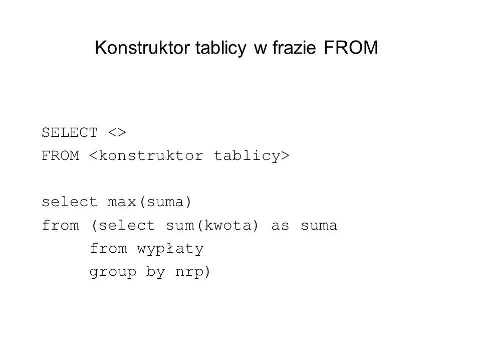 Konstruktor tablicy w frazie FROM SELECT <> FROM select max(suma) from (select sum(kwota) as suma from wypłaty group by nrp)