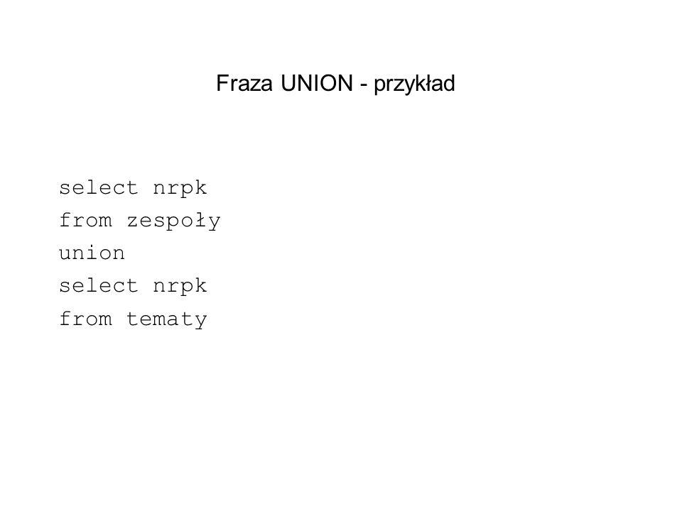 Fraza UNION - przykład select nrpk from zespoły union select nrpk from tematy