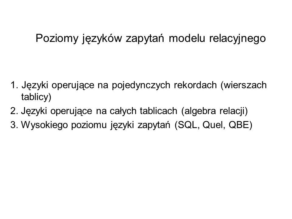 Poziomy języków zapytań modelu relacyjnego 1. Języki operujące na pojedynczych rekordach (wierszach tablicy) 2. Języki operujące na całych tablicach (