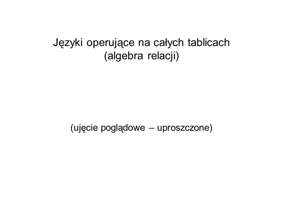 Języki operujące na całych tablicach (algebra relacji) (ujęcie poglądowe – uproszczone)