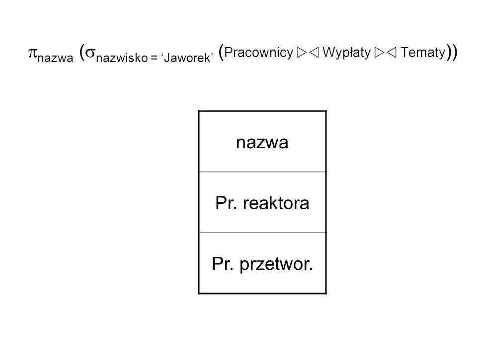 nazwa ( nazwisko = Jaworek ( Pracownicy Wypłaty Tematy )) nazwa Pr. reaktora Pr. przetwor.