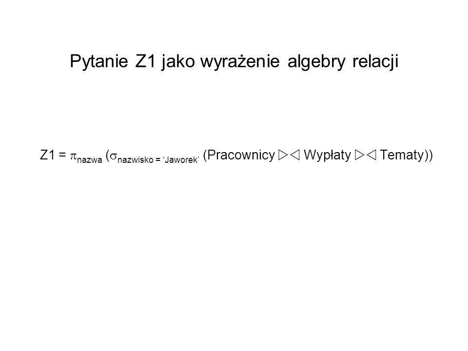 Pytanie Z1 jako wyrażenie algebry relacji Z1 = nazwa ( nazwisko = Jaworek (Pracownicy Wypłaty Tematy))