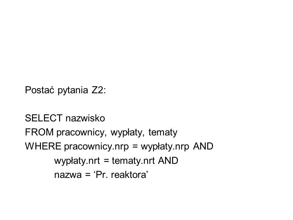 Postać pytania Z2: SELECT nazwisko FROM pracownicy, wypłaty, tematy WHERE pracownicy.nrp = wypłaty.nrp AND wypłaty.nrt = tematy.nrt AND nazwa = Pr. re
