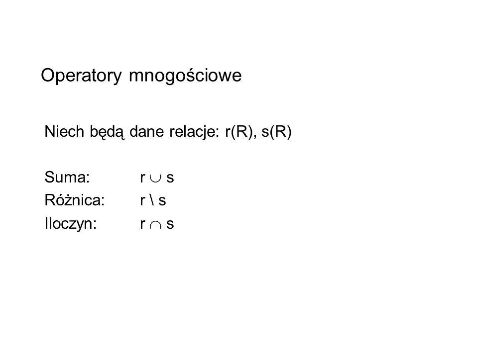 Operatory mnogościowe Niech będą dane relacje: r(R), s(R) Suma: r s Różnica: r \ s Iloczyn: r s