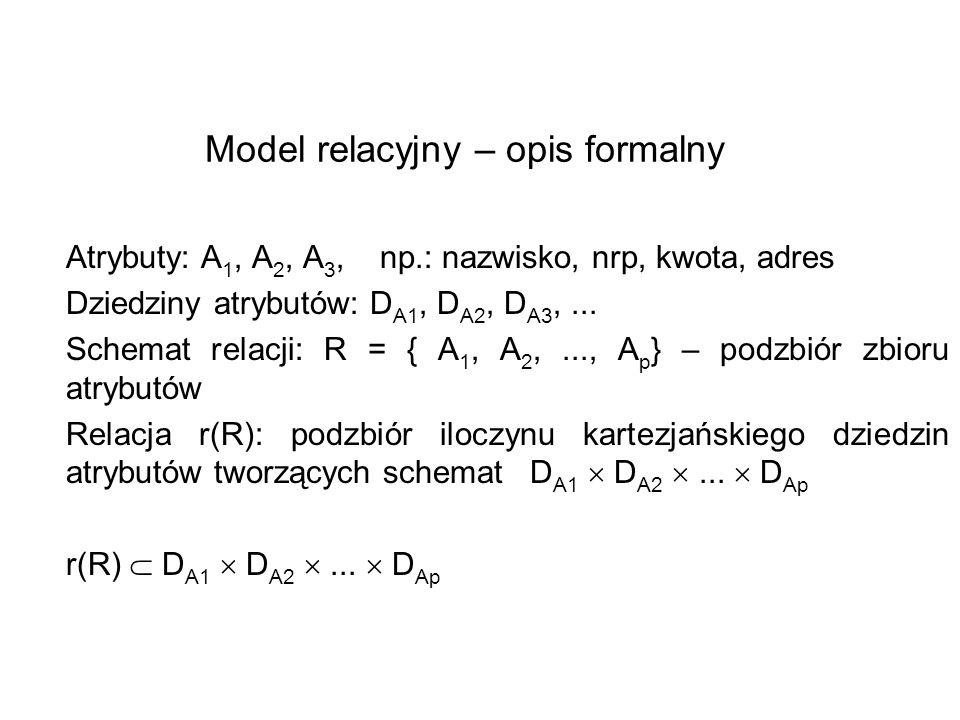 Model relacyjny – opis formalny Atrybuty: A 1, A 2, A 3, np.: nazwisko, nrp, kwota, adres Dziedziny atrybutów: D A1, D A2, D A3,... Schemat relacji: R