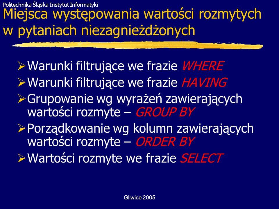 Politechnika Śląska Instytut Informatyki Gliwice 2005 Miejsca występowania wartości rozmytych w pytaniach niezagnieżdżonych Warunki filtrujące we fraz
