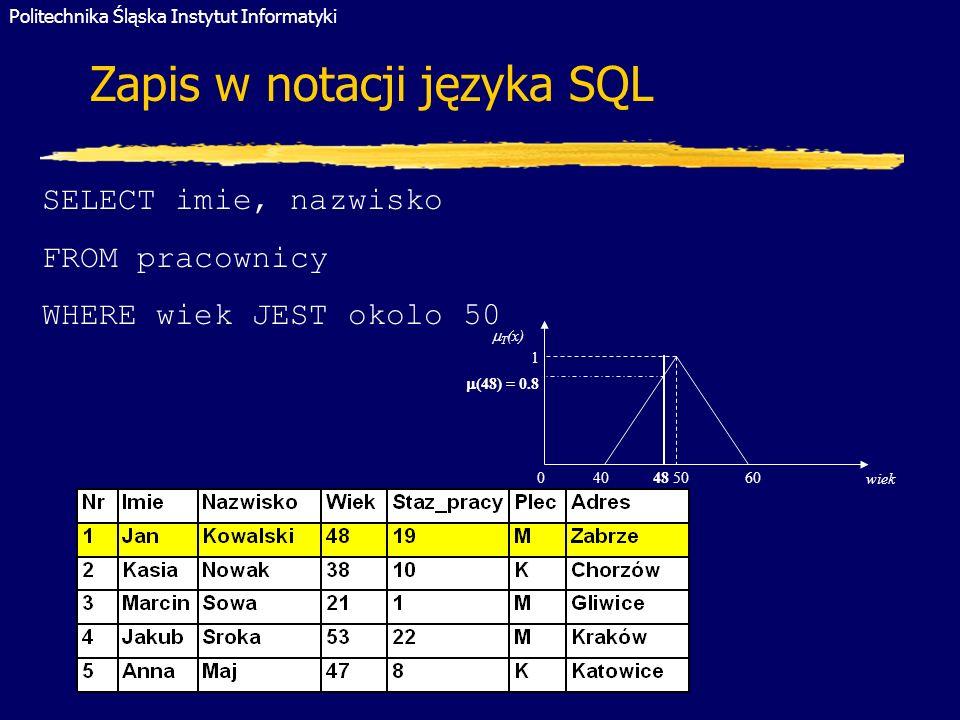 Politechnika Śląska Instytut Informatyki Gliwice 2005 1 T (x) wiek 0 40 48 50 60 (48) = 0.8 SELECT imie, nazwisko FROM pracownicy WHERE wiek JEST okol