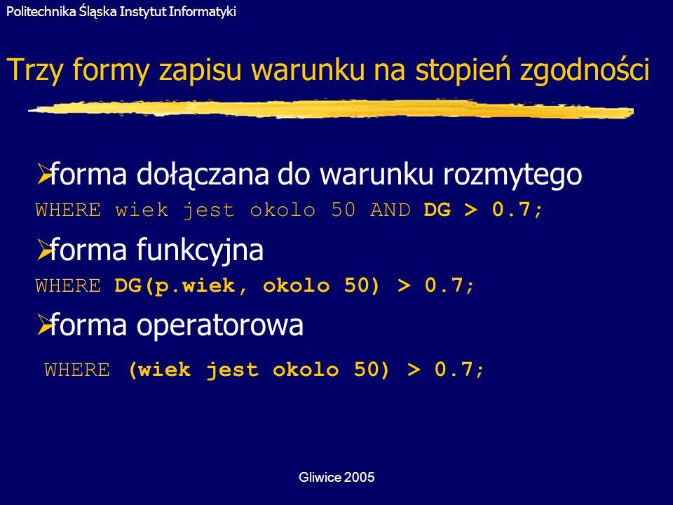 Politechnika Śląska Instytut Informatyki Gliwice 2005 Trzy formy zapisu warunku na stopień zgodności forma dołączana do warunku rozmytego WHERE wiek j