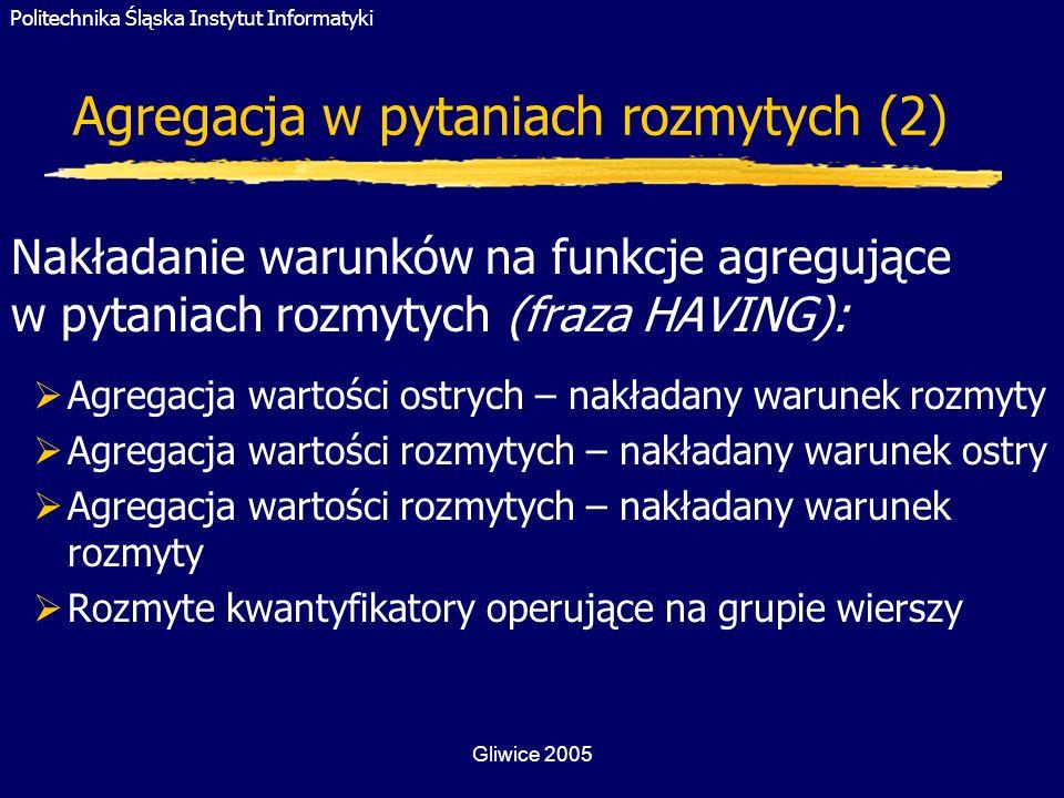 Politechnika Śląska Instytut Informatyki Gliwice 2005 Agregacja w pytaniach rozmytych (2) Nakładanie warunków na funkcje agregujące w pytaniach rozmyt