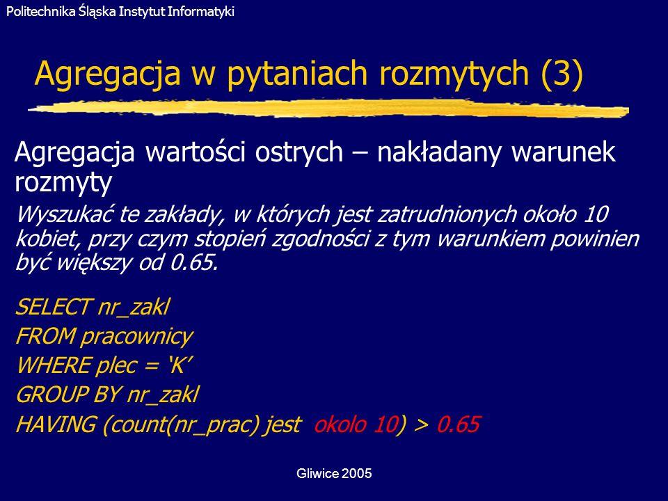 Politechnika Śląska Instytut Informatyki Gliwice 2005 Agregacja w pytaniach rozmytych (3) Agregacja wartości ostrych – nakładany warunek rozmyty Wyszu