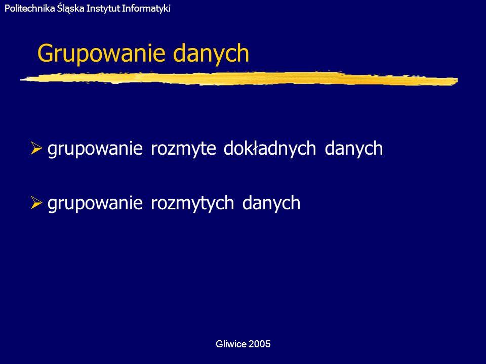 Politechnika Śląska Instytut Informatyki Gliwice 2005 Grupowanie danych grupowanie rozmyte dokładnych danych grupowanie rozmytych danych