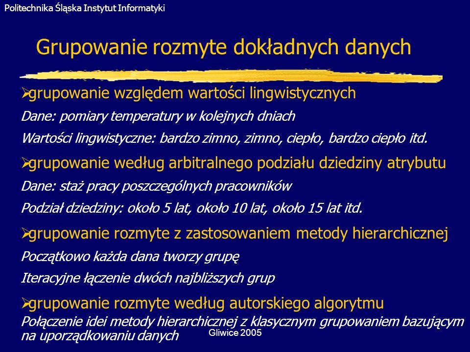 Politechnika Śląska Instytut Informatyki Gliwice 2005 Grupowanie rozmyte dokładnych danych grupowanie względem wartości lingwistycznych Dane: pomiary
