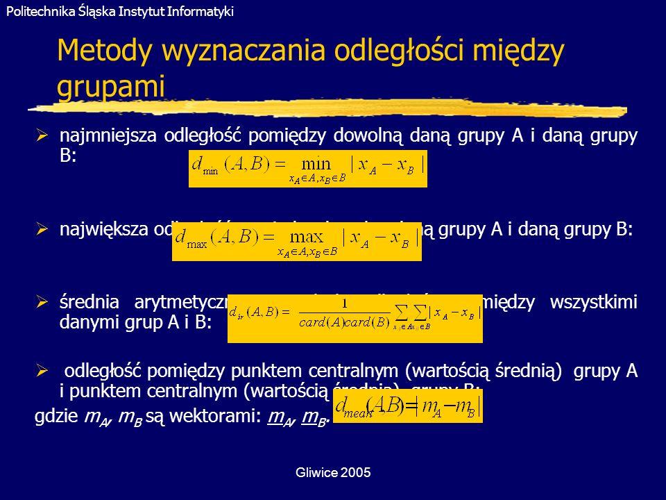 Politechnika Śląska Instytut Informatyki Gliwice 2005 Metody wyznaczania odległości między grupami najmniejsza odległość pomiędzy dowolną daną grupy A